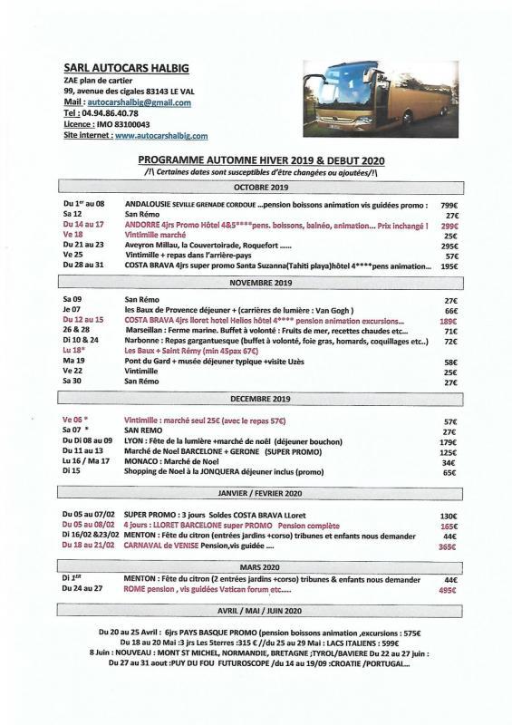 Programme fin 2019 debut 2020